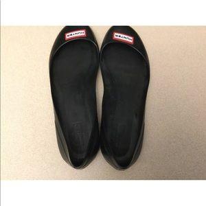 Hunter Shoes - Womens Hunter Rain Skimmer Rubber Ballet Flats. 7